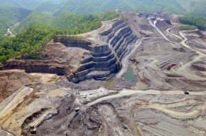 Image showing mountain strip mined for coal.