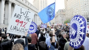 Image shows union support at Occupy Wall St.