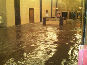 Flooded lobby of 140 West Street, during the storm.