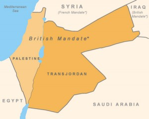 Map of Palestine under the British Mandate, showing Palestine of 1922 including what is now Israel, West Bank, Gaza, in the west and Hashemite Kingdom of Jordan in the east.