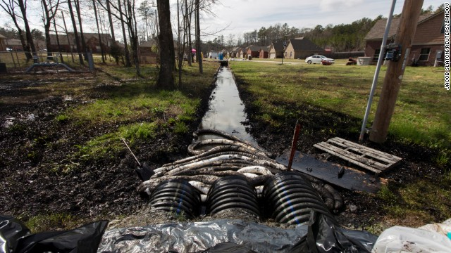 Oil in a drainage ditch, Mayflower, Arkansas