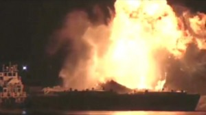 Image of fuel barges on fire.