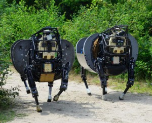 A pair of LS3 robots developed by Boston Dynamics use  articulated limbs instead of wheels. Boston Dynamics