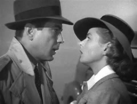 Humphrey Bogart and Ingrid Bergman in Casablanca, 1943