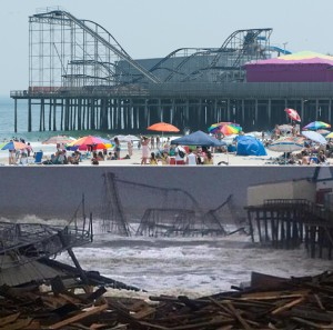 The beach and cyclone at Seaside Heights, NJ, before and after Hurricane Sandy, Oct. 2014